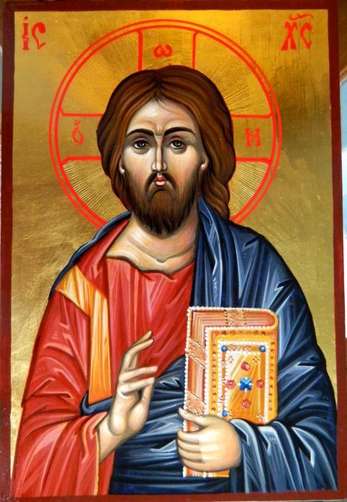 Domnul Iisus Hristos- Icoana pe lemn, realizata in tehnica bizantina , cu foita de aur de 22k. Dimensiune A5, (15X21cm)