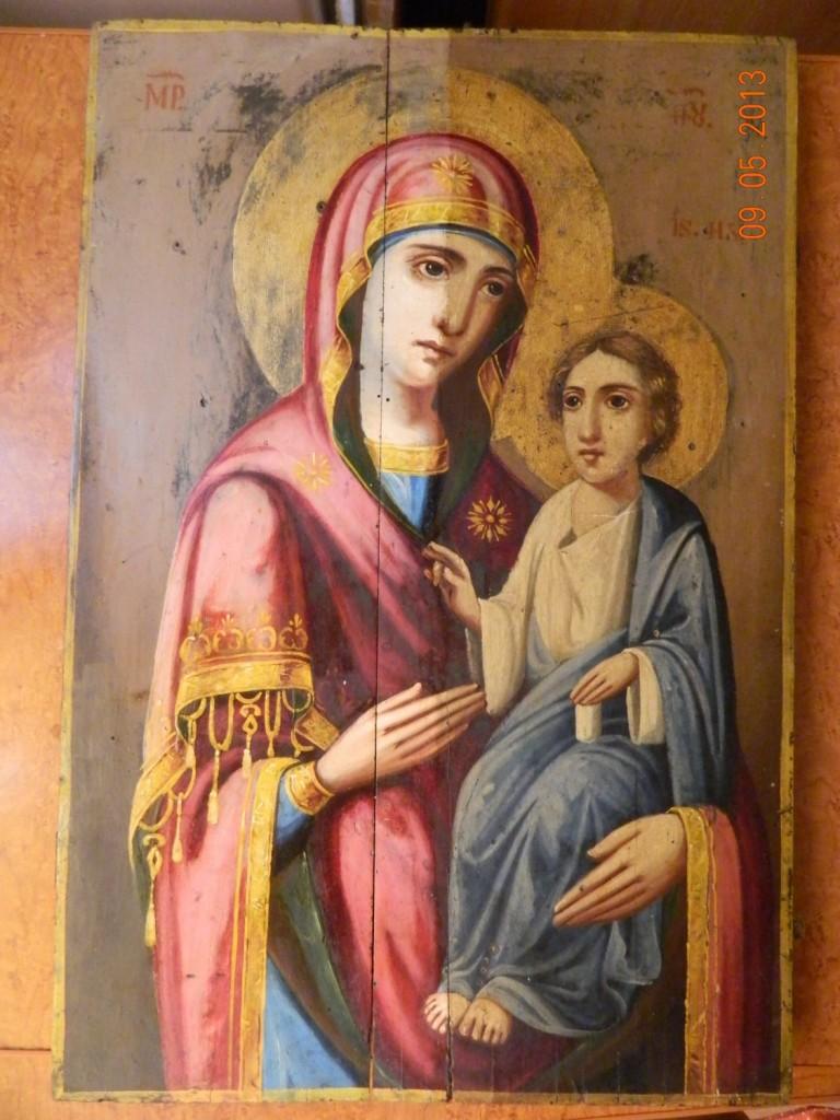 Maica Domnului cu Pruncul- Imagine dupa curatarea partiala a picturii