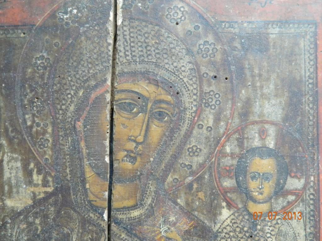 Maica Domnului cu Pruncul- Icoana secol 17- DETALIU- - IMAGINE INAINTE DE RESTAURARE