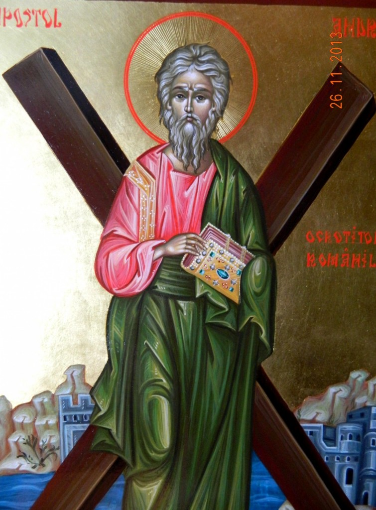 Sfantul Apostol ANDREI-Icoana pictata in stil bizantin, tempera cu ou, foita de aur de 22k. Dimensiune A3