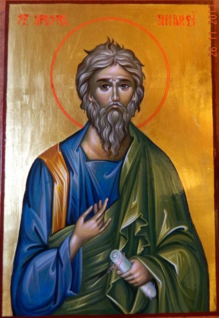 Sfantul Apostol ANDREI-Icoana pictata in stil bizantin, tempera cu ou, foita de aur de 22k. Dimensiune A4