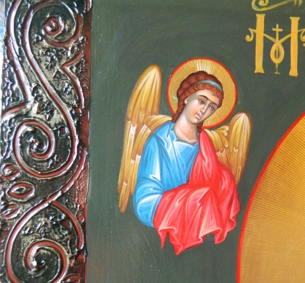 Maica Domnului cu Pruncul - Povatuitoarea- DETALIUIcoana pe lemn, realizata in tehnica bizantina, cu foita de aur de 22k. Dimensiuni 100cmX 68 cm