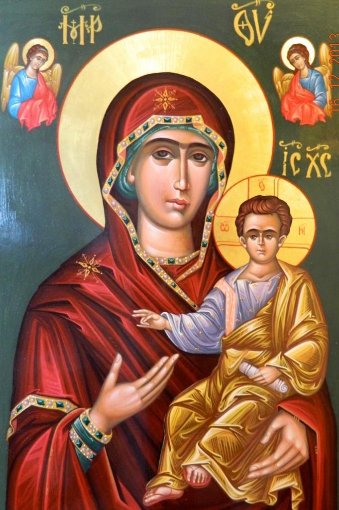 Maica Domnului cu Pruncul - Povatuitoarea DETALIU- Icoana pe lemn, realizata in tehnica bizantina, cu foita de aur de 22k. Dimensiuni 100cmX 68 cm