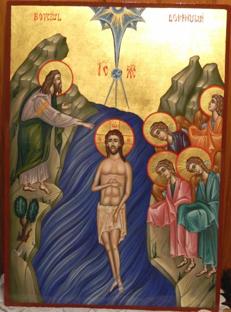 Botezul Domnului Hristos- Icoana pe lemn, realizata in tehnica bizantina,cu foita de aur de 22k. Dimensiune A3 ( 42cm X 30 cm)