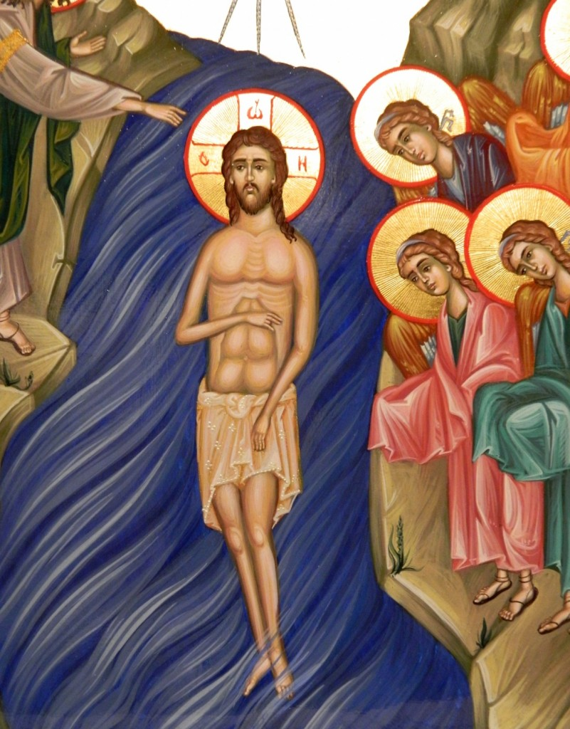 Botezul Domnului Hristos-detaliu-  Icoana pe lemn, realizata in tehnica bizantina,cu foita de aur de 22k. Dimensiune A3 ( 42cm X 30 cm)
