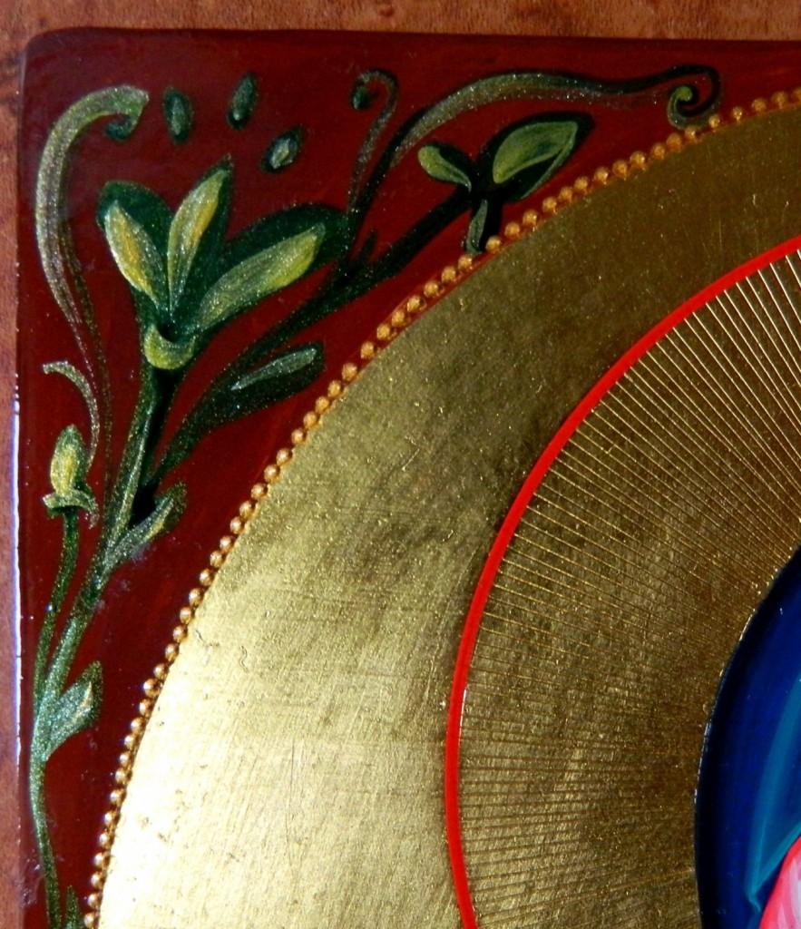 Sfanta Mucenita Iustina- DETALIU-Icoana pe lemn, realizata in tehnica neobizantina, cu foita de aur de 24k. Dimensiune A4