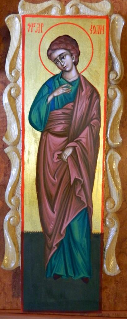 Crucea si moleniile catapeteasma- DETALIU SF IOAN- Icoane realizate pe lemn, in tehnica neobizantina si foita de aur de 22k. Dimensiune, inaltime cruce- 30cmX15cm, molenii 25 cm X 6cm