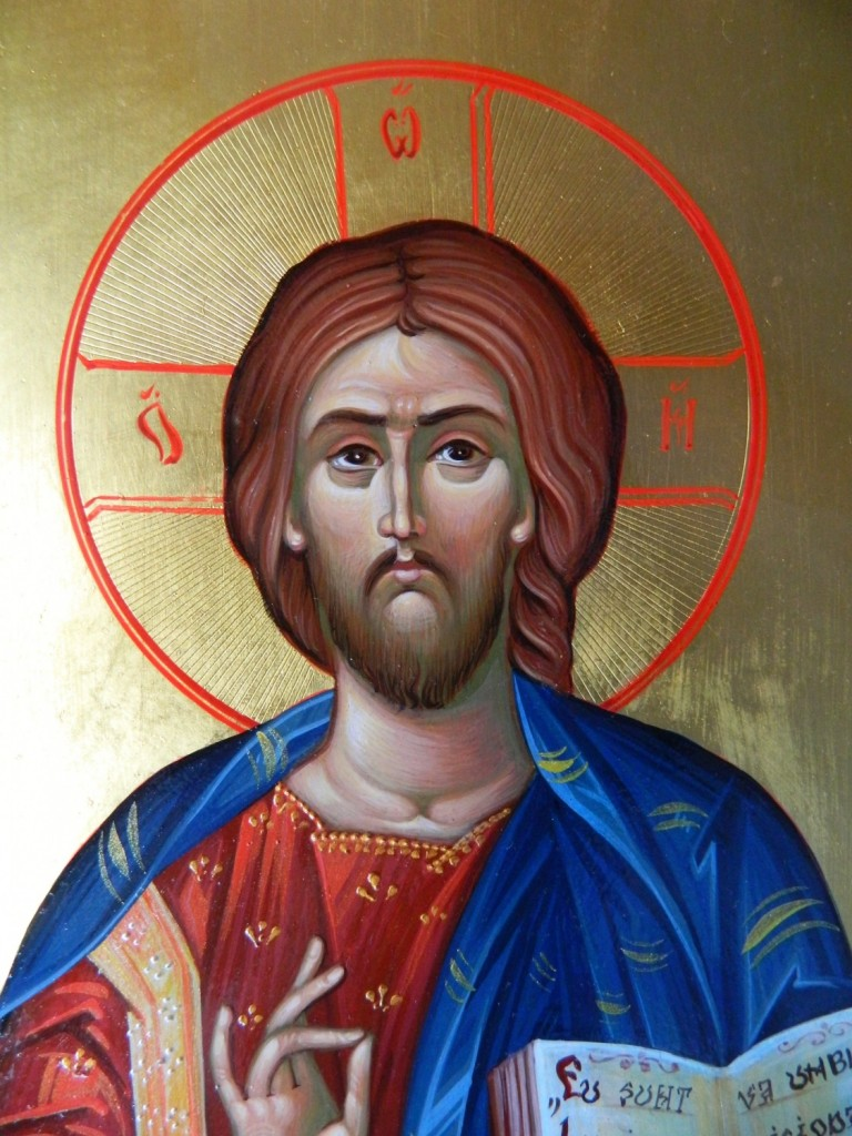 Domnul Iisus Hristos  Pantocrator- DETALIU-Icoana realizata pe lemn, in tehnica neobizantina, cu foita de aur de 22K. Dimensiune A4 ( 21cmX 29 cm)