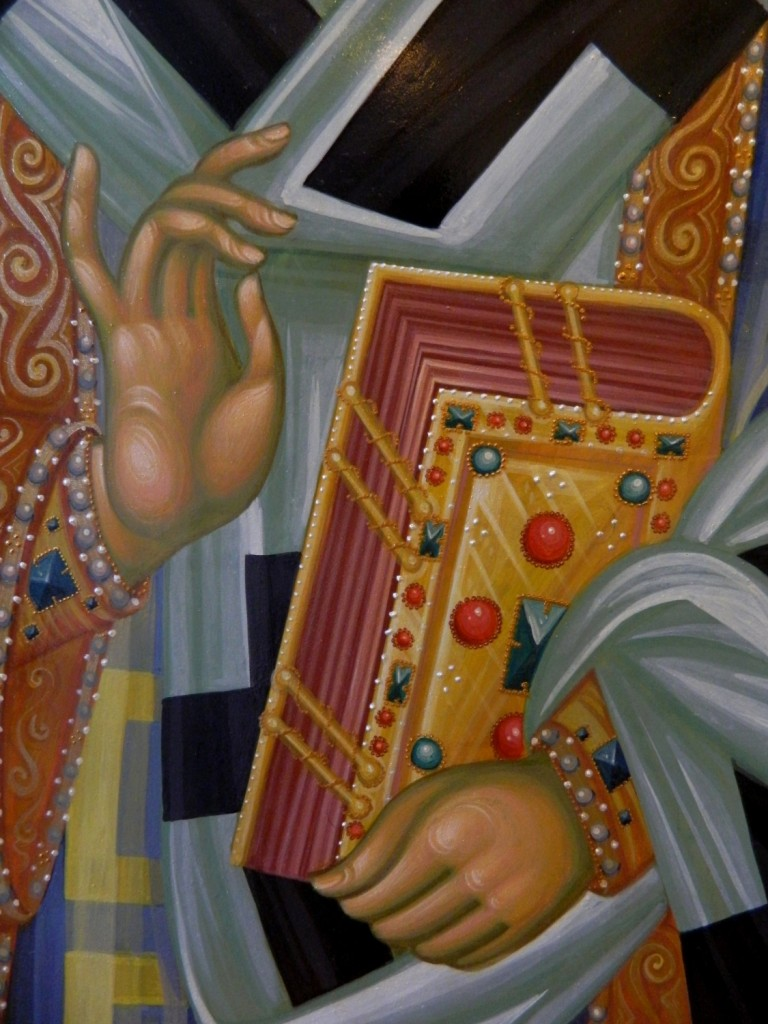 Sfantul Ierarh Nectarie -DETALIU- Icoana pe lemn, realizata in stil bizantin pe lemn de tei cu foita de aur de 22k. Dimensiune 100cmX50 cm