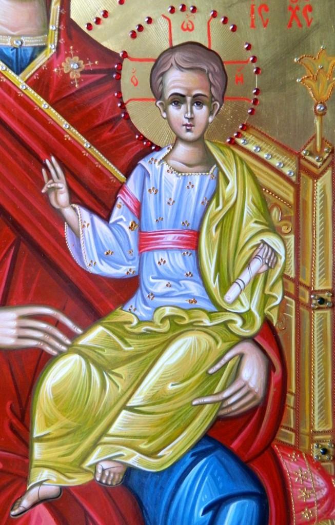 Maica Domnului pe tron- DETALIU-Icoana imparateasca realizata pe lemn, cu foita de aur de 22k, realizate in stil neobizantin. Dimensiune 40X90cm