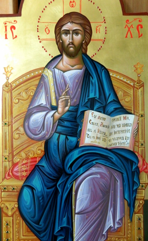 Domnul Iisus Hristos  pe tron- DETALIU Icoana imparateasca realizata pe lemn, cu foita de aur de 22k, realizate in stil neobizantin. Dimensiune 40X90cm