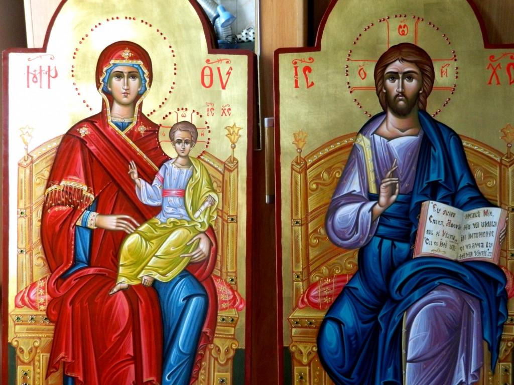Domnului Hristos pe tron si  Maica Domnului pe tron- Icoane imparatesti realizate pe lemn, cu foita de aur de 22k, realizate in stil neobizantin. Dimensiune 40X90cm