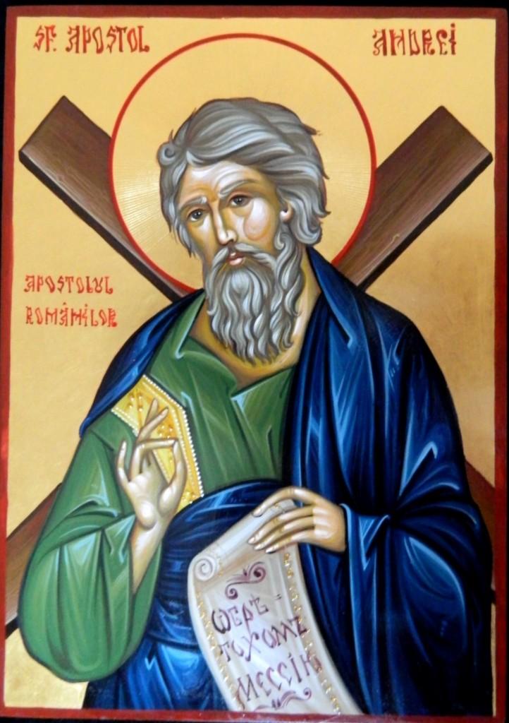 Sfantul Apostol ANDREI- Icoana pe lemn, realizata in tehnica nizantina cu foita de aur de 23,7k. Dimensiune A4 ( 30X21cm)