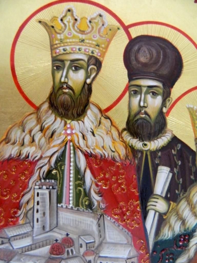 Sfintii Martiri Brancoveni- Icoana pe lemn, realizata in tehnica bizantina, cu foita de aur de 22k. Dimensiuni 30cmX42 cm  (A3)