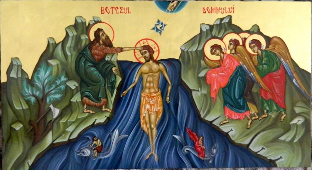 Botezul Domnului Hristos- Icoana pe lemn, realizata in tehnica bizantina cu foita de aur de 22k.  Dimensiune 57cmX31cm