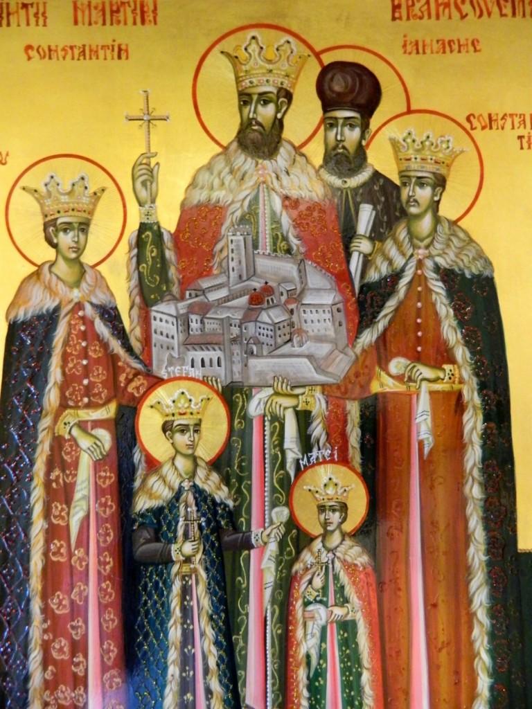 Sfintii Martiri Brancoveni-DETALIU- Icoana pe lemn, realizata in tehnica bizantina, cu foita de aur de 22k. Dimensiuni 30cmX42 cm  (A3)