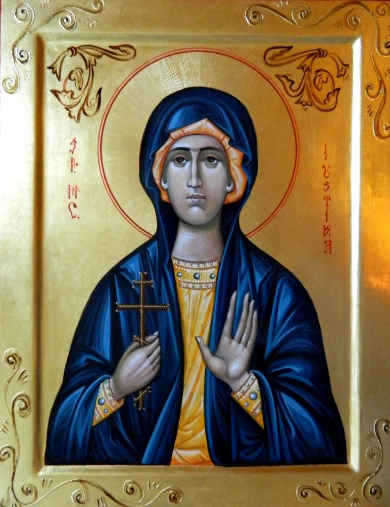 Sfanta Mucenita IUSTINA_ Icoana pe lemn, realizata in tehnica bizantina, cu foita de aur de 22k. Dimensiune 35X45 cm