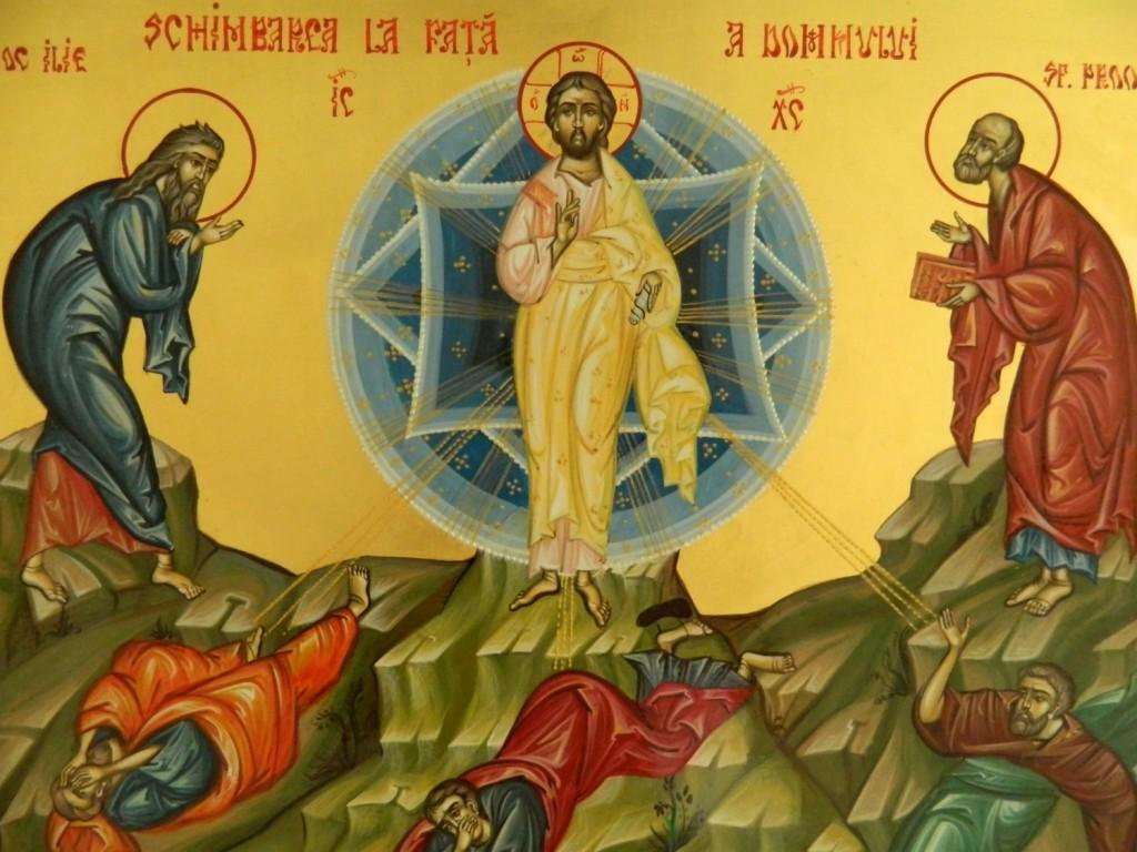 Schimbarea la Fata a Domnului Hristos- Icoana realizata pe lemn , in tehnica bizantina, cu foita de aur de 22k. Dimensiune 32X54cm