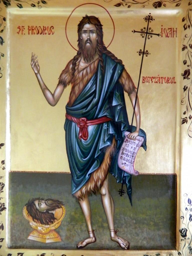 Sfantul IOAN Botezatorul-DETALIU- Icoana realizata pe lemn, realizata in tehnica bizantina, cu foita de aur de 22k. Dimensiune A3 ( 42cmX30cm)