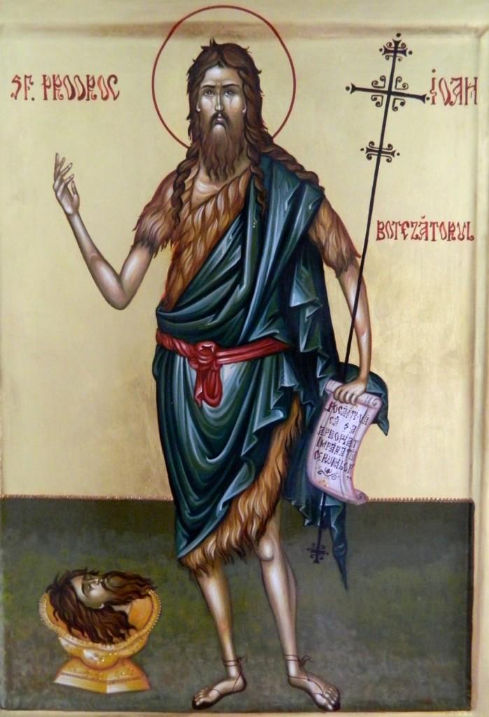 Sfantul IOAN Botezatorul- Icoana realizata pe lemn, realizata in tehnica bizantina, cu foita de aur de 22k. Dimensiune A3 ( 42cmX30cm)