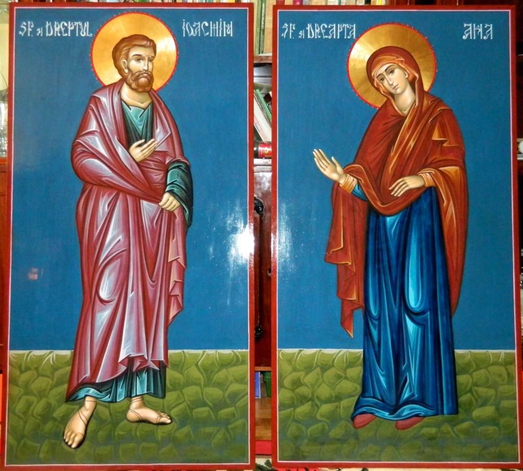 Sfintii Parinti Ioachim si Ana- Icoana pe lemn, realizata in stil bizantin, cu foita de aur de 22k.  Dimensiuni icoana, fiecare 128X68cm