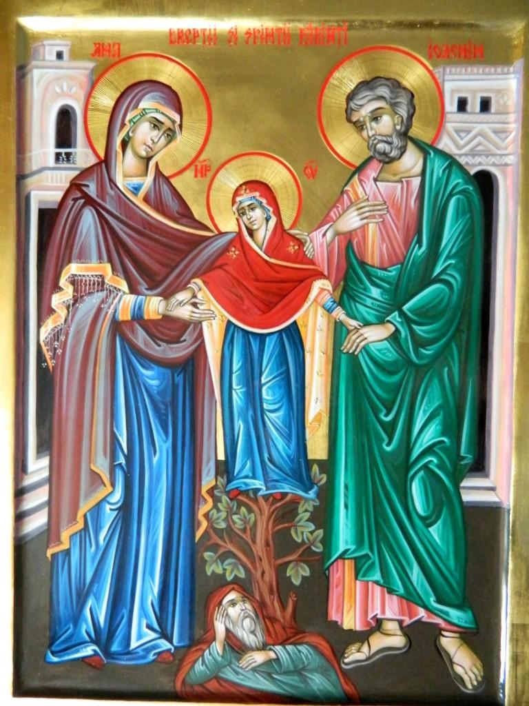 Sfintii Parinti Ioachim si Ana-detaliu-  Icoana realizata pe lemn, in stil bizantin, cu foita de aur de 22k. Dimensiune 35X45cm