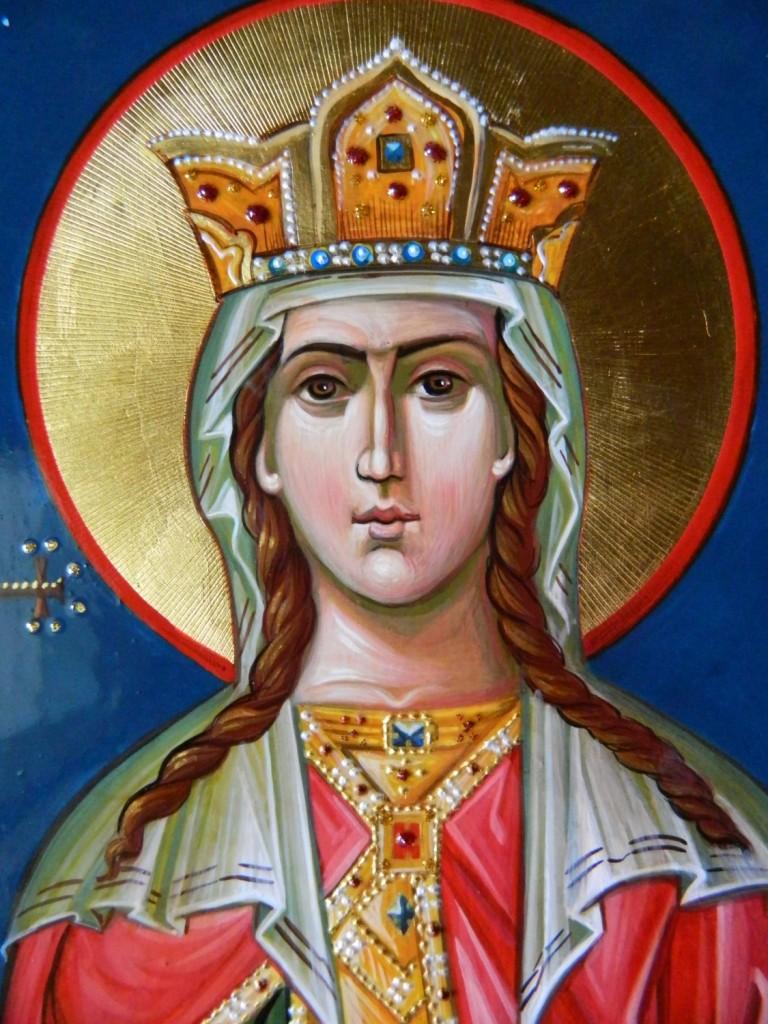 Sfanta Mare Mucenita Irina- detaliu  Icoana pe lemn, realizata in stil bizantin, cu foita de aur de 22k.  Dimensiune A4
