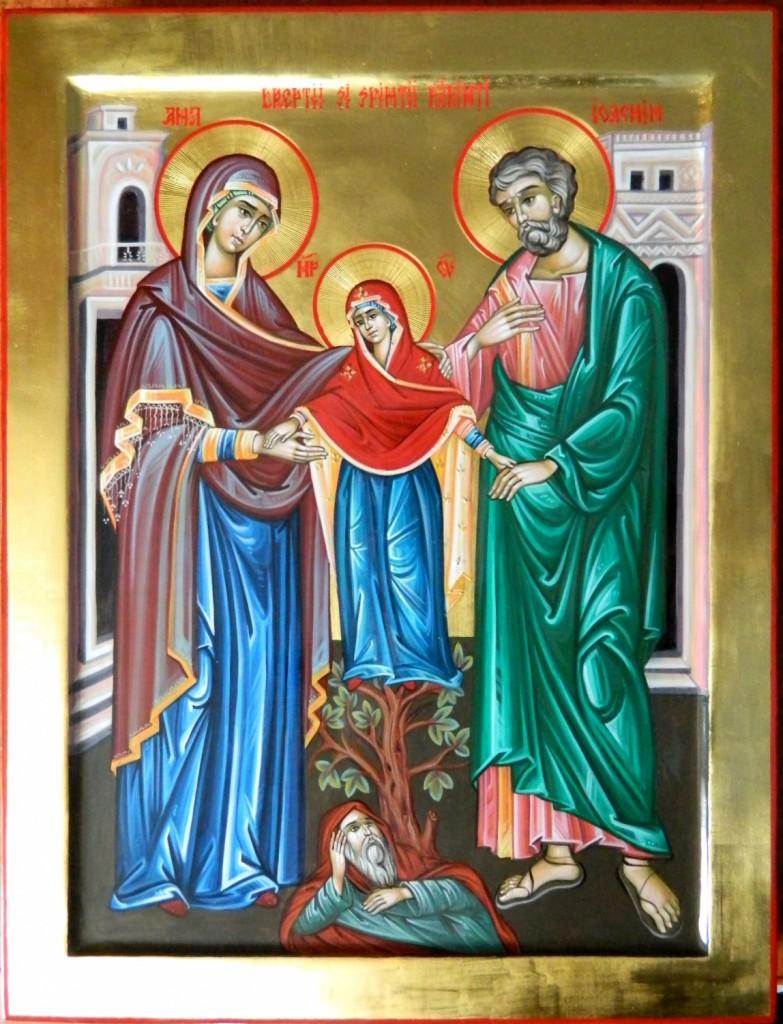 Sfintii Parinti Ioachim si Ana- Icoana realizata pe lemn, in stil bizantin, cu foita de aur de 22k. Dimensiune 35X45cm