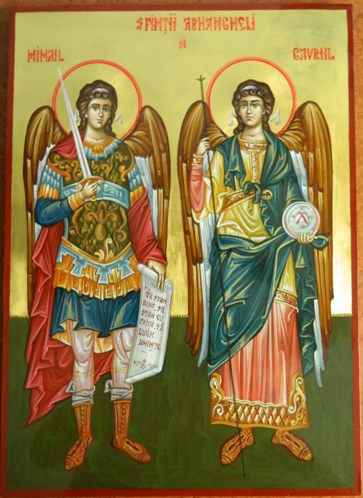 Sfintii Arhangheli Mihail si Gavriil- Icoana realizata pe lemn,in tehnica bizantina, cu foita de aur de 22k. Dimensiuni A3( 30 cm X42 cm)