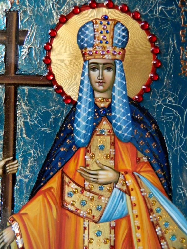 Sfintii Imparati Constantin si Elena- Icoana realizata pe lemn in stil bizantin,, cu foita de aur de 22k si fond mozaicat. Dimensiuni 35X25cm