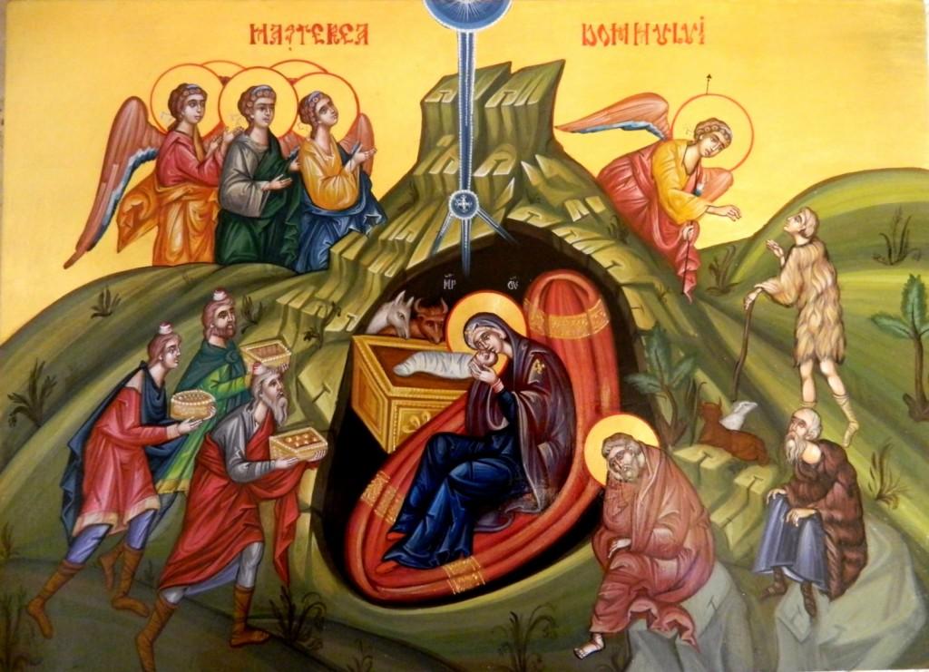 Nasterea Domnului Iisus Hristos- Icoana pe lemn, realizata in tehnica bizantina , cu foita de aur de 22k. Dimensiune 32X54 cm