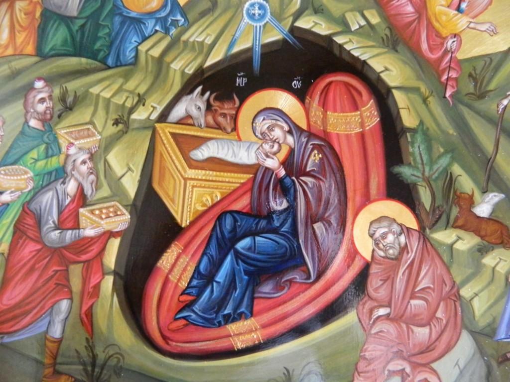 Nasterea Domnului Iisus Hristos- Detaliu-Icoana pe lemn, realizata in tehnica bizantina , cu foita de aur de 22k. Dimensiune 32X54 cm