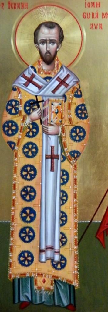 Sf Ioan Gura de Aur si Sf Teodor Tiron- Icoana pe lemn, realizata in tehnica bizantina, cu foita de aur de 22k.  Dimensiune A3