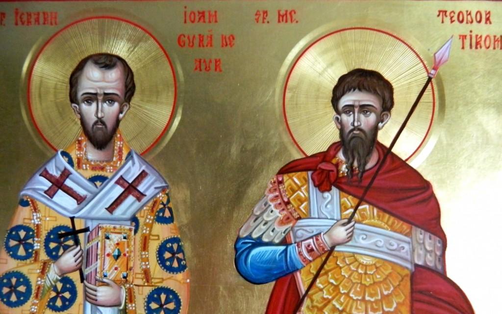 Sf Ioan Gura de Aur si Sf Teodor Tiron-  DETALIU_ Icoana pe lemn, realizata in tehnica bizantina, cu foita de aur de 22k.  Dimensiune A3