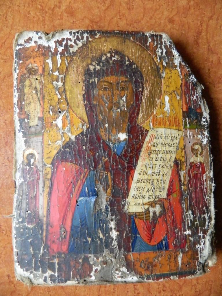 Icoana Sfantului Antonie inainte de restaurare.