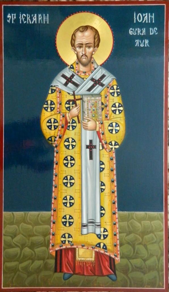 Sfantul Ioan Gura de Aur- Icoana realizata pe lemn, in stil bizantin cu foita de aur de 22k, si aplicatii de pietre semipretioase. Dimensiune  116X68cm