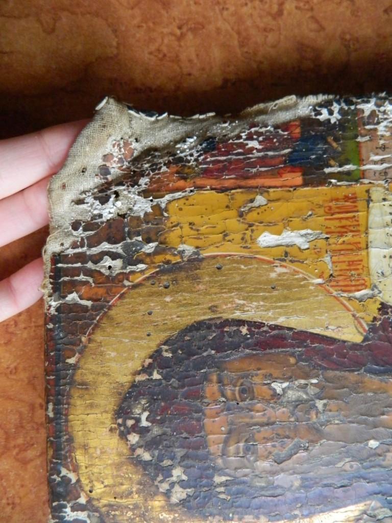 Icoana SfantuluiAntonie cel Mare- Inainte de restaurare - DETALII