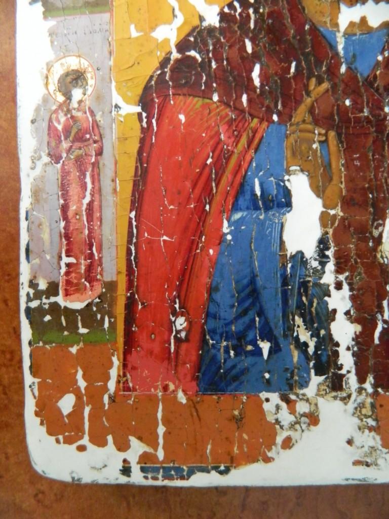 Icoana Sfantului Antonie cel Mare- Dupa chituirea lacunelor.