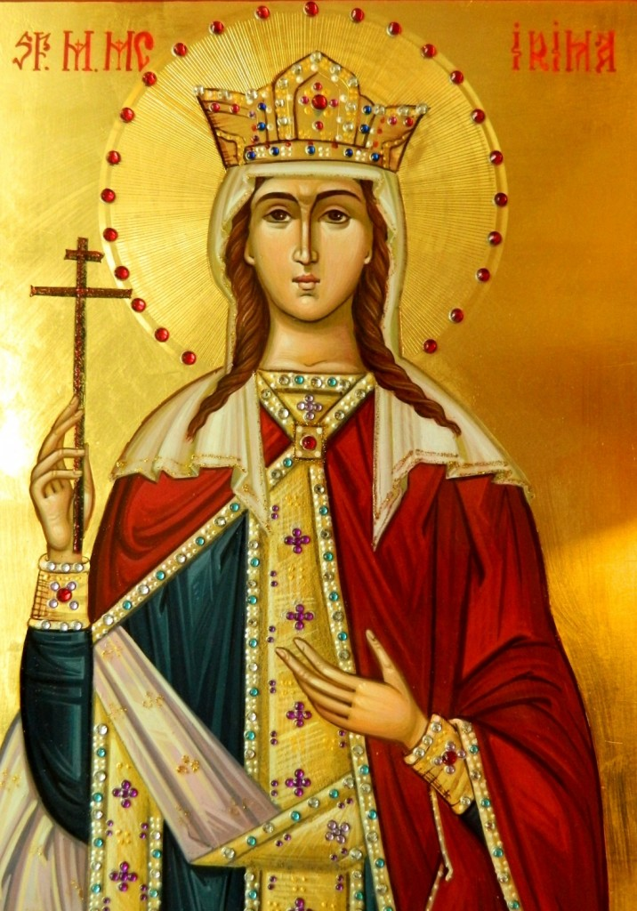 Sfanta Mare Mucenita Irina -DETALIU - Icoana realizata pe lemn ,in stil bizantin, cu foita de aur de 22k. Dimensiune A4 ( 21X30 cm)