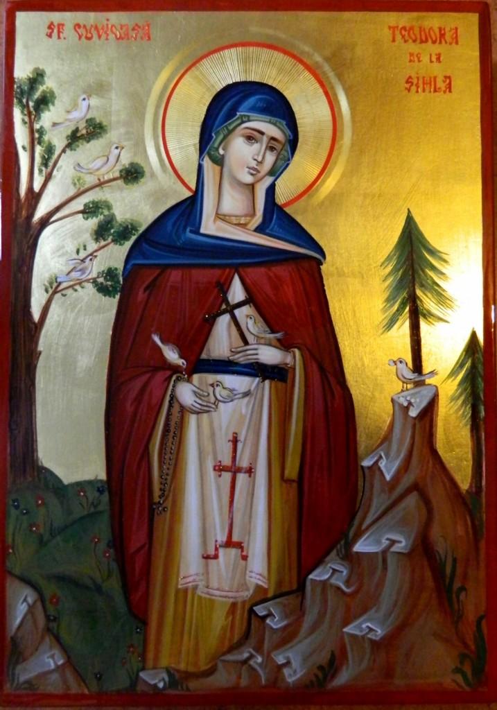 Sfanta Teodora de la Sihla- Icoana realizata pe lemn ,in stil bizantin, cu foita de aur de 22k. Dimensiune A4 ( 21X30 cm)