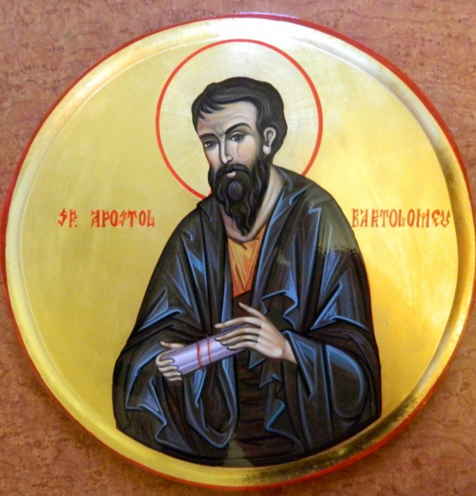 Sfantul Apostol BARTOLOMEU- Icoana pe lemn, realizata in tehnica bizantina cu foita de aur de 22k.  Dimensiune 30 cm diametru.