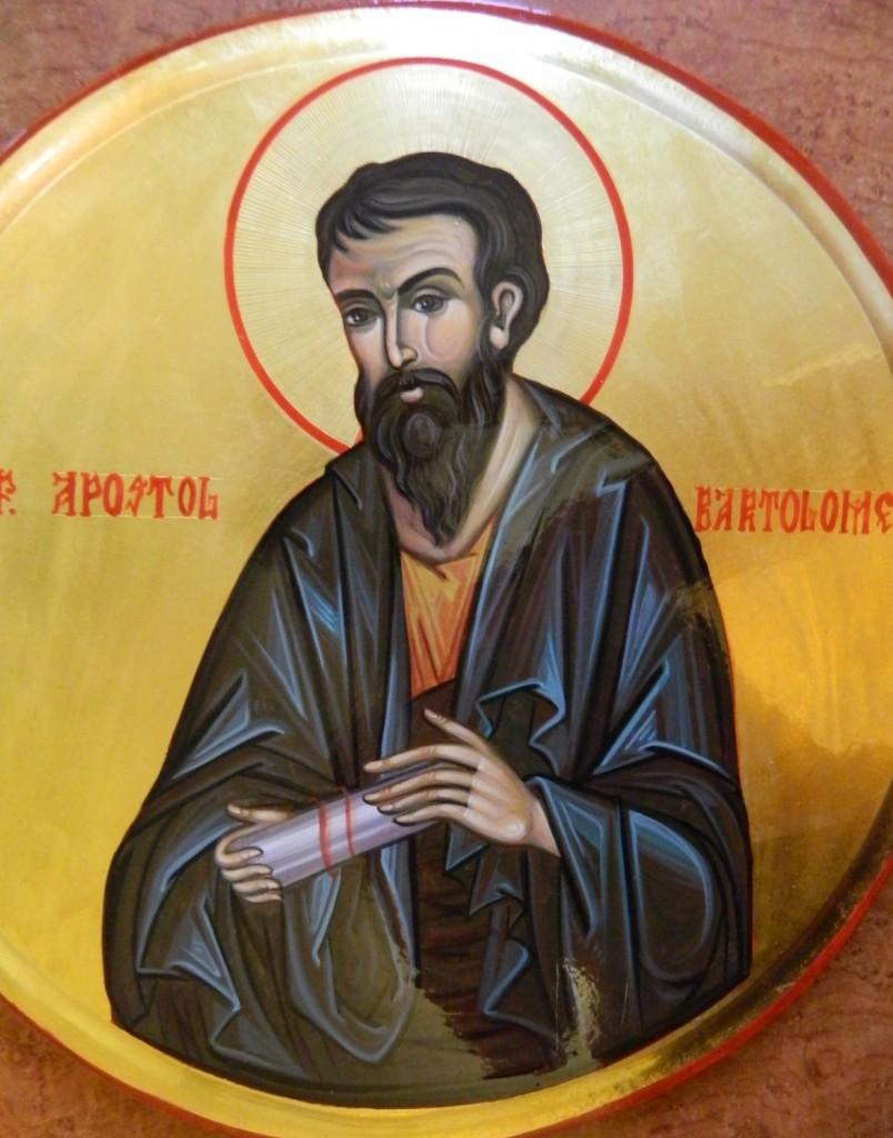 Sfantul Apostol BARTOLOMEU- DETALIU-- Icoana pe lemn, realizata in tehnica bizantina cu foita de aur de 22k.  Dimensiune 30 cm diametru.