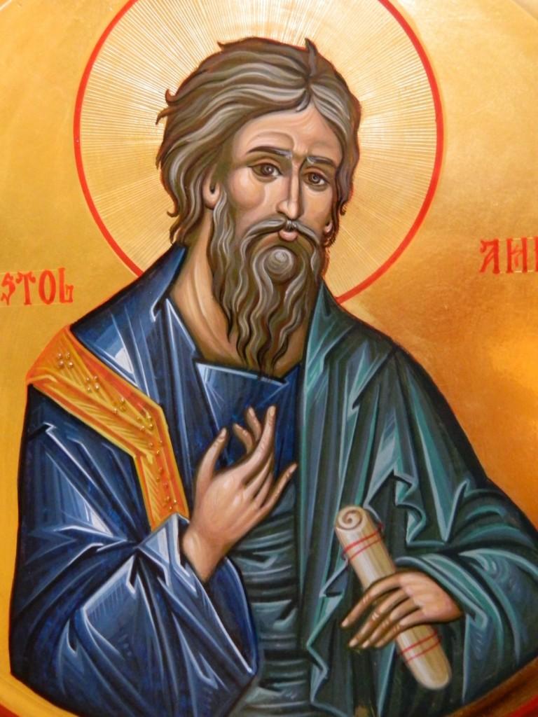 Sfantul Apostol ANDREI - DETALIU_Icoana pe lemn, realizata in tehnica bizantina cu foita de aur de 22k.  Dimensiune 30 cm diametru.