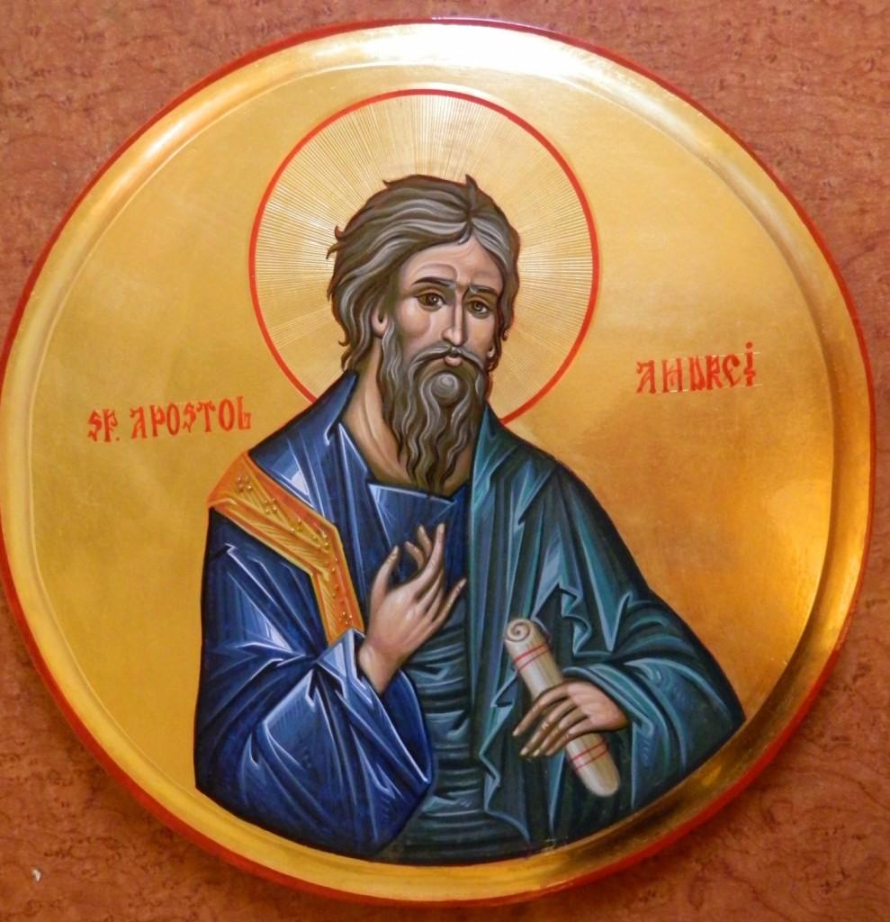 Sfantul Apostol ANDREI_ Icoana pe lemn, realizata in tehnica bizantina cu foita de aur de 22k.  Dimensiune 30 cm diametru.