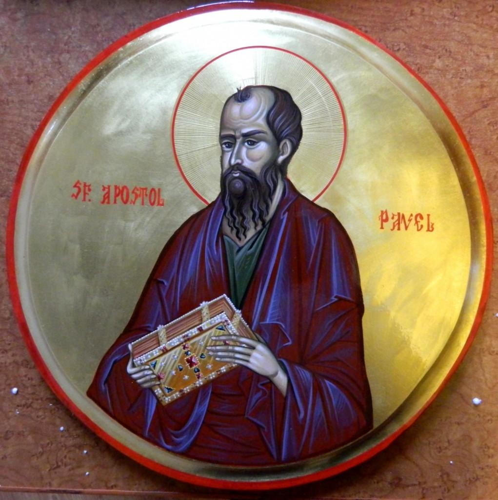 Sfantul Apostol PAVEL- Icoana pe lemn, realizata in tehnica bizantina cu foita de aur de 22k.  Dimensiune 30 cm diametru.