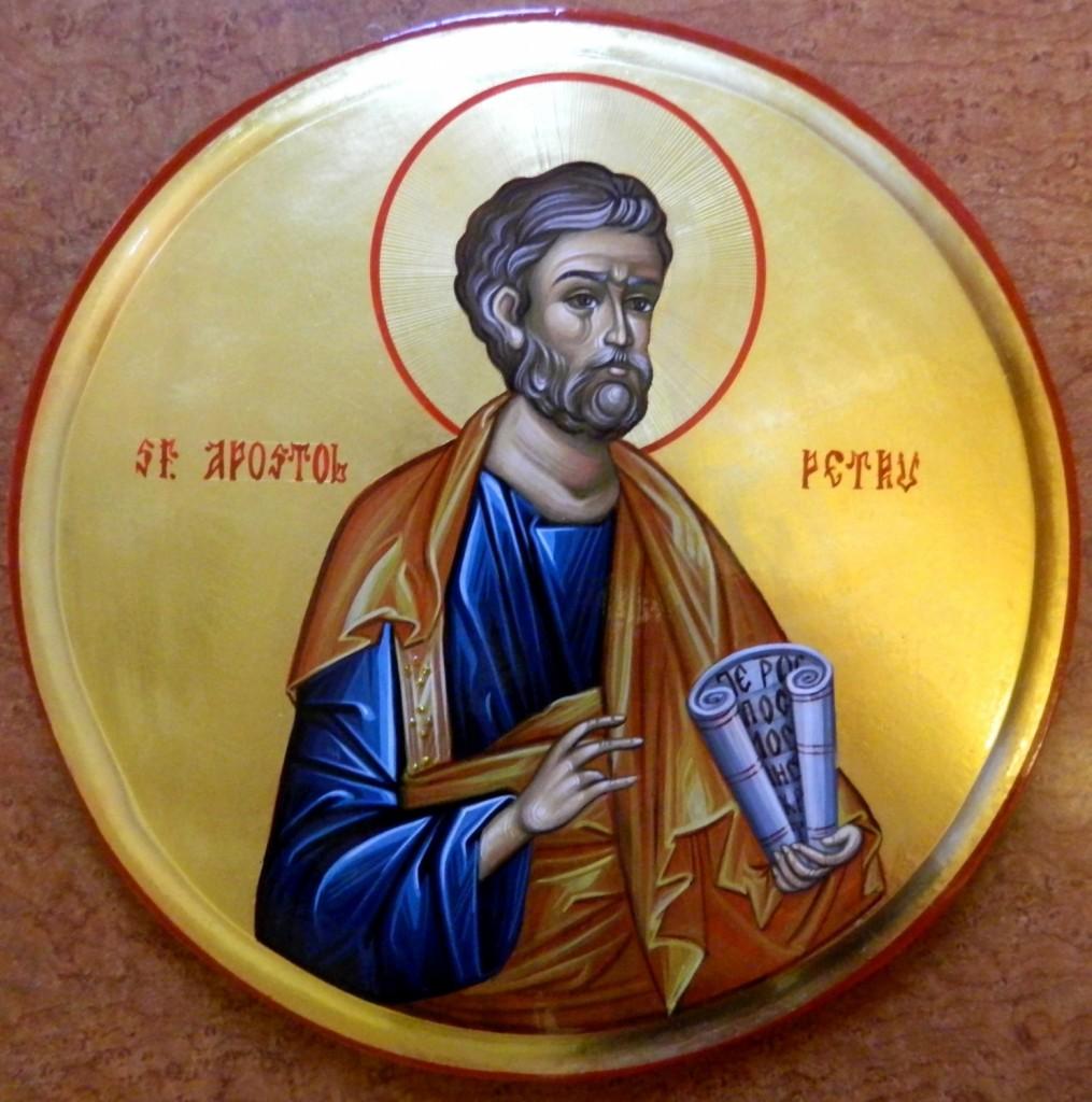 Sfantul Apostol Petru- Icoana pe lemn, realizata in tehnica bizantina cu foita de aur de 22k.  Dimensiune 30 cm diametru.