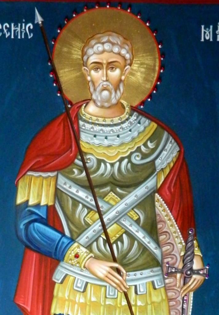 Sfantul Mare Mucenic Mina- DETALIU_Icoana pe lemn , realizata in tehnica bizantina, cu foita de aur de 22k. Dimensiune 60X40 cm
