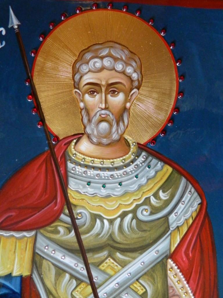 Sfantul Mare Mucenic Mina- Icoana pe lemn , realizata in tehnica bizantina, cu foita de aur de 22k, si aplicatii de pietre semipretioase. Dimensiune 60X40 cm
