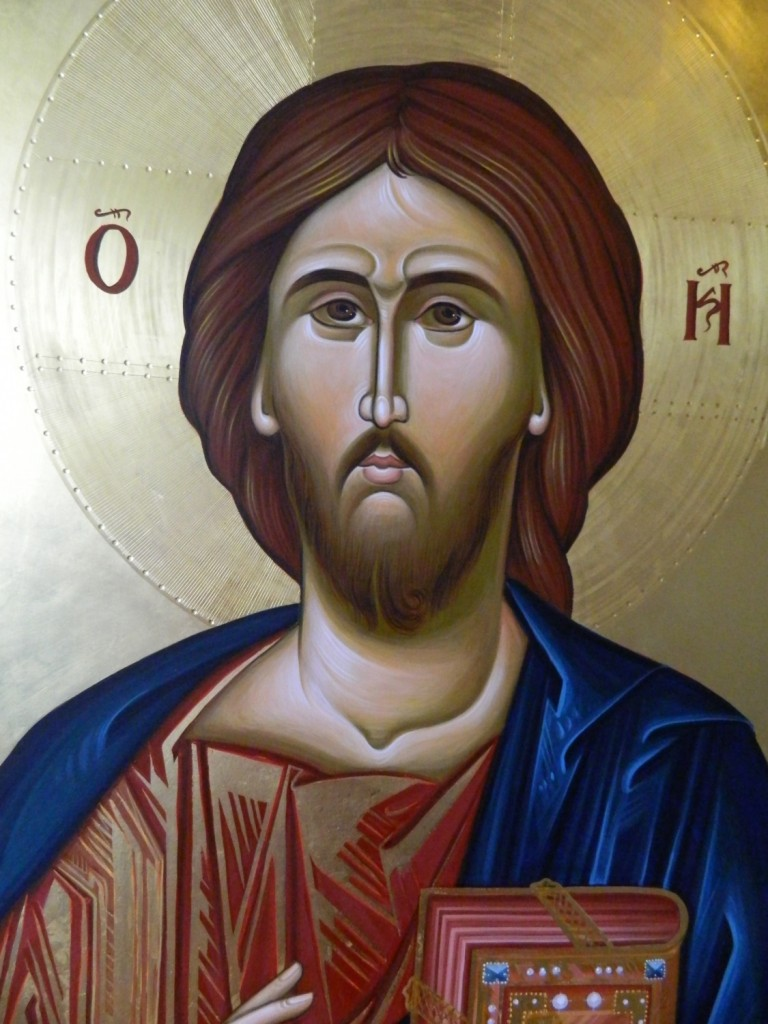 Icoana Imparateasca Domnul Iisus Hristos- Icoana realizata pe lemn, in stil bizantin,  cu foita de aur de 22k. Dimensiune 106X75  cm- Detaliu
