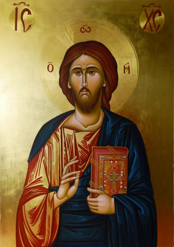 Icoana Imparateasca Domnul Iisus Hristos- Icoana realizata pe lemn, in stil bizantin,  cu foita de aur de 22k. Dimensiune 106X75  cm